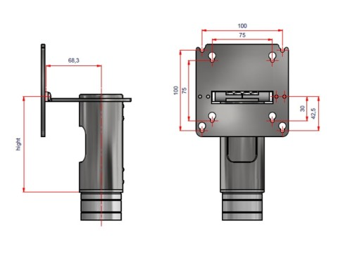 Assy top position Touch PC absorption VESA 75/100, Länge 115mm, antrazit für Flexi stand Standfuß