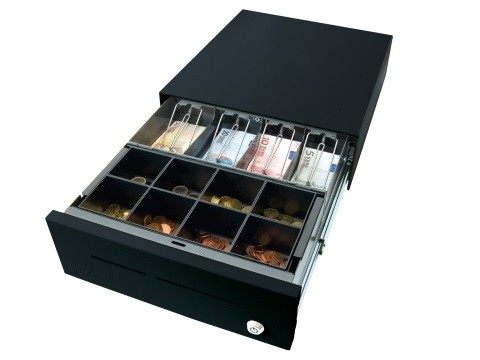 34 E-KE-K - Elektrische Geldschublade, Universal-Modell, 4 Banknotenfächer (flach), 8 Münzbehälter, tiefschwarz