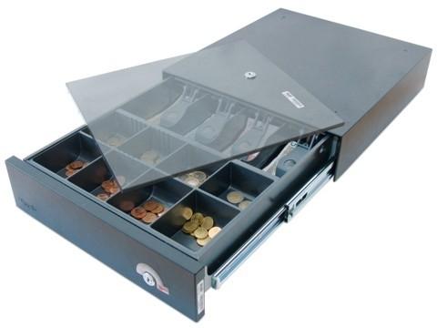 38EX-KE - Elektrische Geldschublade, Aufstell-/Unterbau-Modell, herausnehmbarer Kasseneinsatz KE 84-3, tiefschwarz