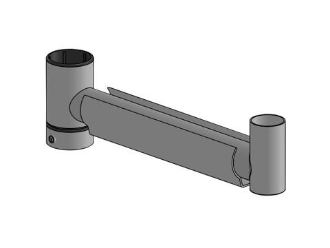 SpacePole Mount - Peripherie-Arm zum Anbringen einer Druckerplatte am Standrohr, 300mm, schwarz