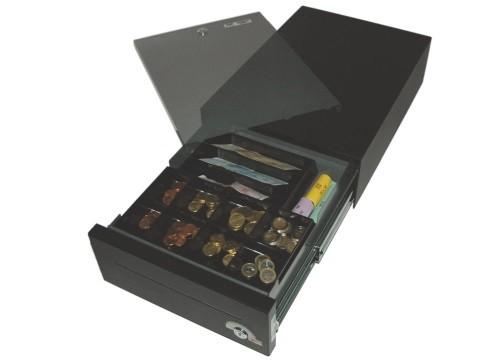 29 E-KE-D - Elektrische Geldschublade, Universal-Modell, 4 Banknotenfächer (schräg), 8 Münzbehälter, Tiefschwarz