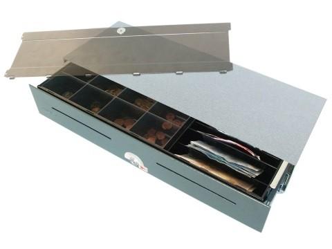 54 E-KE-D- elektrische Geldschublade (kurze Einbautiefe) ohne Eins.-Deckel, Aufstell-Modell, 4 Banknotenfächer (schräg), 8 Münzbehälter, Anthrazitgrau