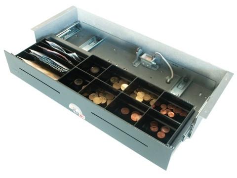 54 E- elektrische Geldschublade (kurze Einbautiefe), Unterbau-Modell, 4 Banknotenfächer (schräg), 8 Münzbehälter, Anthrazitgrau (RAL7016)