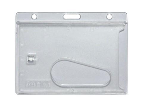Kartenhalter/Kartenhülle für Plastikkarte mit Loch für Lanyard/Band (z.B. als Namensschild) hoizontal, transparent (VPE 100 Stk)