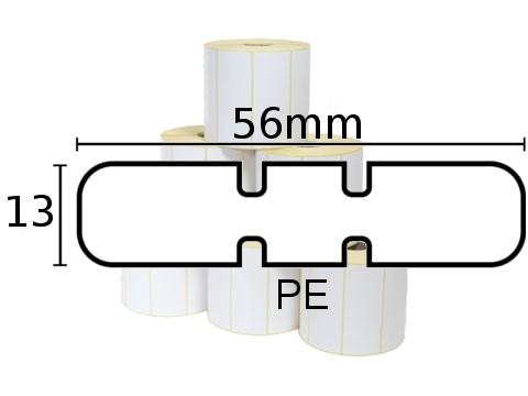 Etiketten - 8000D Jewelery(ThermoDirekt), Schmuck Juwelier-Polypropylen-Etikett mit Flügel, gestrichen weiss, 56 x 13mm, D102mm, Kern25mm, 3510 Eti/Ro
