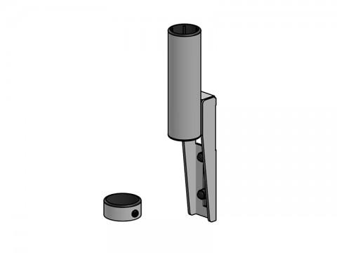 Regal-/Wandhalterung mit kurzem SP2-Pole inkl. Verschlussring, schwarz