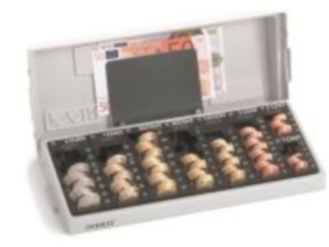 Geldzählkasse - MINIKORD F 7-iR mit 7 herausnehmbaren Einzelmünzbehältern von 2 Euro bis 2+1 Cent und einem Stülpdeckel