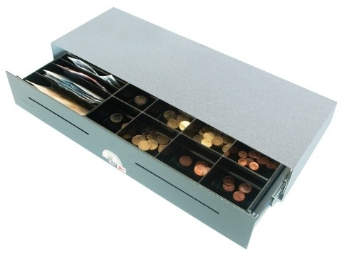 54 E- elektrische Geldschublade (kurze Einbautiefe), Aufstell-Modell, 4 Banknotenfächer (schräg), 8 Münzbehälter, Anthrazitgrau (RAL7016)