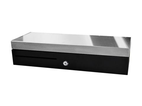 ECD460 - Kassenlade, Klappdeckel, 6 Banknotenfächer, 8 Münzschalen, 24V, RJ11-Kabel, Edelstahl-Front, schwarz