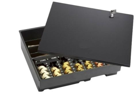 Minikord 7810 RE Kasseneinsatz - 7 herausnehmbaren Einzelmünzbehältern, 4 Banknoten-Steilfächern, 1 Banknotenfach mit Banknotensicherungen, mit Deckel