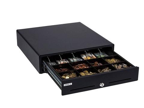 MDX 18 - Metall-Kassenschublade, Standard Einsatz, 8 Münzfächer, 5 Notenfächer, 2 Belegschlitze, manuelle Öffnung, ohne Kassenanschluss, anthrazit