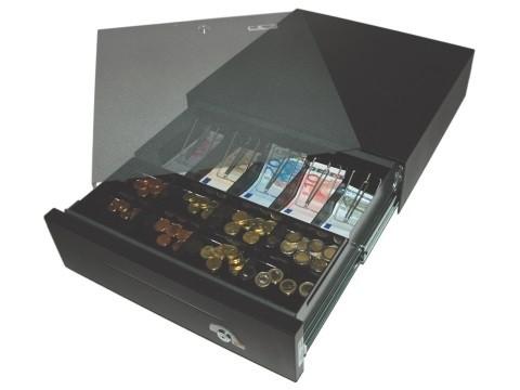 42 E-KE-D - elektrische Geldschublade, Universal-Modell, 5 Banknotenfächer (flach), 8 Münzbehälter, tiefschwarz