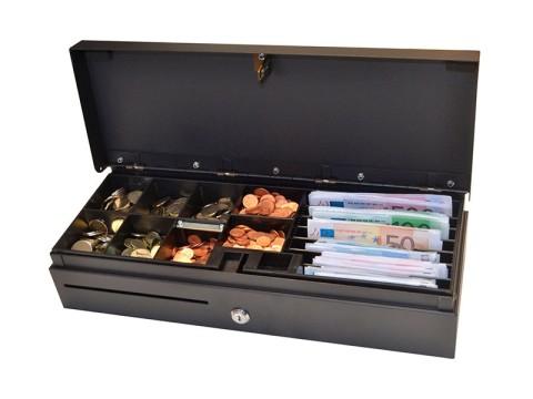 ECD460 - Kassenlade, Klappdeckel, 6 Banknotenfächer, 8 Münzschalen, 24V, RJ11-Kabel, schwarz