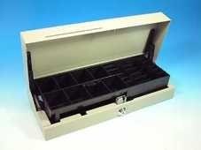 Kassenlade CostPlus Flip Lid Modular 460 - lackiert, weiß, 8 Münz- und 4 Notenfächer + 1 Ablagefach