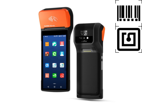 """V2 PRO - Mobiles All-In-One Touchterminal, 5.99"""" Display, 58mm Thermobondrucker, Android 7.1, 4G, NFC, 1D-CCD-Barcodescanner"""