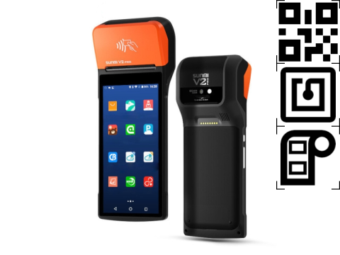 """V2 PRO - Mobiles All-In-One Touchterminal, 5.99"""" Display, 58mm Thermo Etikettendrucker, Android 7.1, 4G, NFC, 2D-Barcodescanner"""