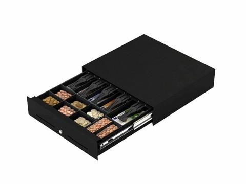 E3000 - Kassenlade, Frontöffnung, 5 Banknotenfächer, 8 Münzschalen, RJ11, 24V-Magnet, schwarz