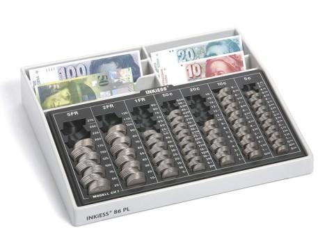 Geldtransportkoffer - REKORD 860 PK/VS für Schweizer Franken, einteiliger Münzeinsatz, 6 Banknoten-Steilfächer und verschließbare Schnappüberwürfe