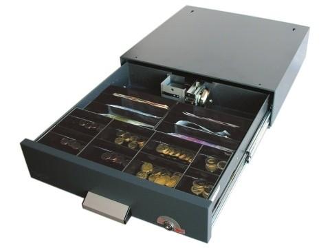 SU41 - Unterbau-Kassenlade mit Sicherheitsalarmverschluss, 6 Schrägfächer für Banknoten, Münzeinsatz mit 8 Mulden, Zylinderschloss, tiefschwarz