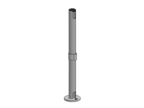 Standrohr mit Tischbefestigung, schwarz, Höhe 600mm