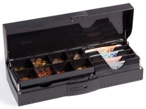 OmniOption OCC - Geldkassette, 8 Münz- und 4 Scheinfächer , Schließung 1-50, anthrazit, feste Geldeinsätze (TC 4616)
