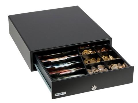 MDX 13 - Metall-Kassenschublade, Standard Einsatz, 5 Münzfächer, 4 Notenfächer, Mikroschalter 12V, anthrazit