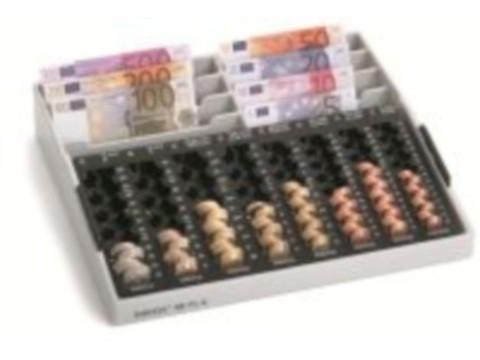 Kassenkombination - REKORD 88 PL-Griff mit 8 Einzelmünzbehältern, 8 Banknoten-Steilfächern und seitlichen Griffen
