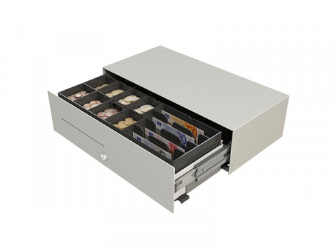 Micro - Kassenlade, Frontöffnung, 4 Notenfächer (stehend), 8 Münzschalen, weiss