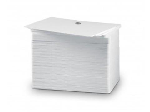 Plastikkarte Premium - 10mil, 0.25mm (blanko), weiss, mit Rundloch lange Seite (Lanyards) für Kartendruck ++Abgabe nur als VPE 500ter Pack++