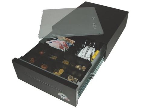 32 E-KE-D - Elektrische Geldschublade, Universal-Modell, 6 Banknotenfächer (schräg), 8 Münzbehälter, tiefschwarz