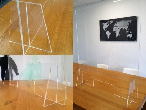 Hygieneschutz aus Acryglas - glasklar, 1000 x 800 x ! 6 ! mm, mit Durchreiche